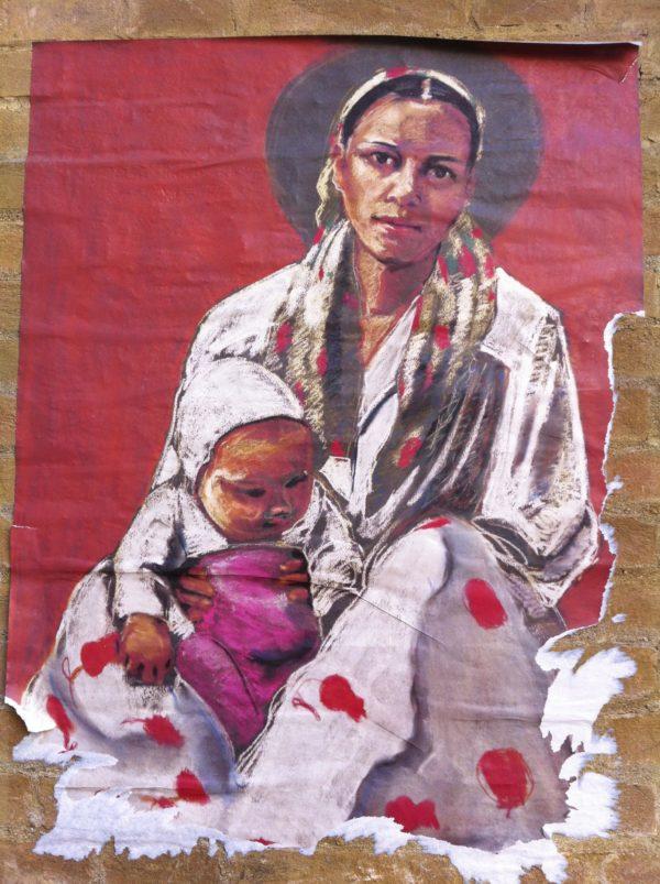 Madonna mit Kind - Streetart: Wheatpaste-Poster in Venedig 11_2011 Foto © Welz