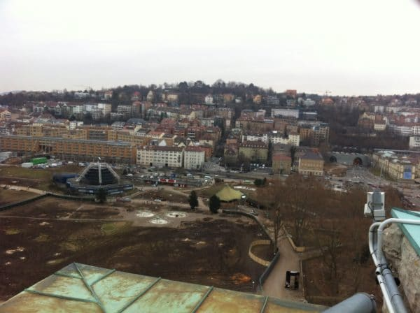 Blick vom Bahnhofsturm auf den Mittleren Schlossgarten Stuttgart am 23. Februar 2012 - Foto © Welz