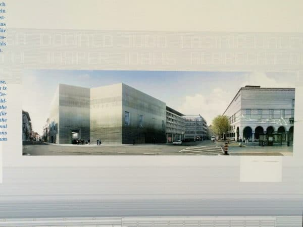 Der Erweiterungsbau Kunstmuseum Basel soll im April 2016 eingeweiht werden. Foto vom Bauzaun © Welz