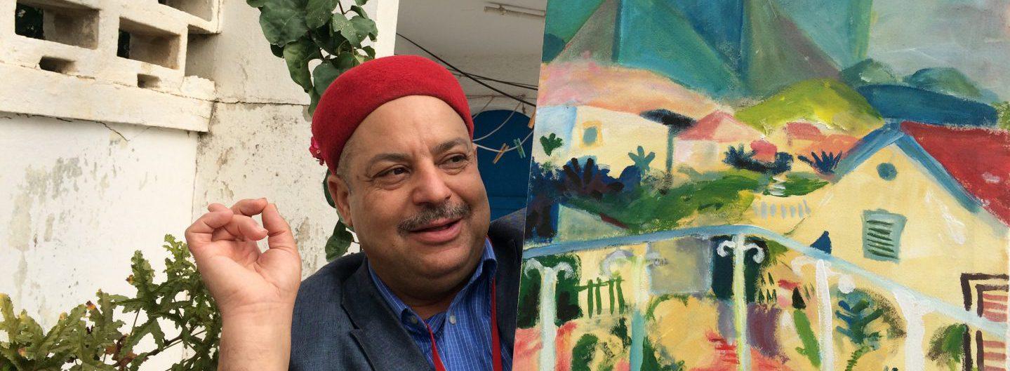 Ibrahim zeigt uns das Landhaus von Dr. Jäggi in Ez Zahra - Macke, Klee und Moilliet haben dort gemalt. Foto © Welz