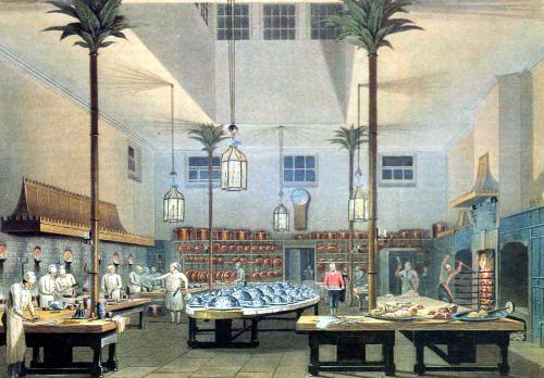 Königliche Küche im Royal Pavilion in Brighton, England aus John Nash's ''Views of the Royal Pavilion'' (1826) via Wiki Commons