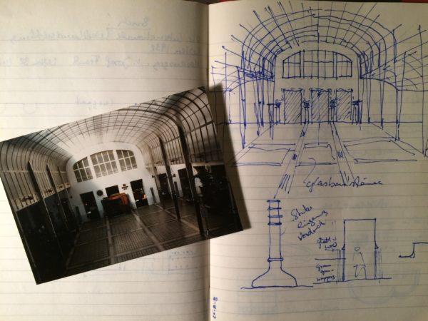 Aus dem Skizzenbuch: Die große Schalterhalle der Postsparkasse in Wien. Foto © Welz