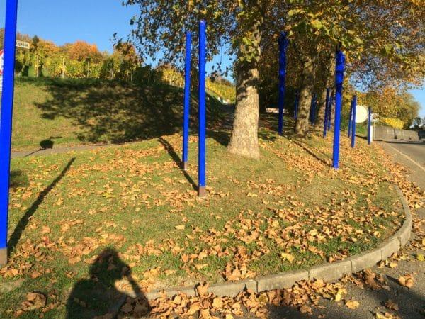 Blaue Stelen am Rehbergerweg. Foto © Welz