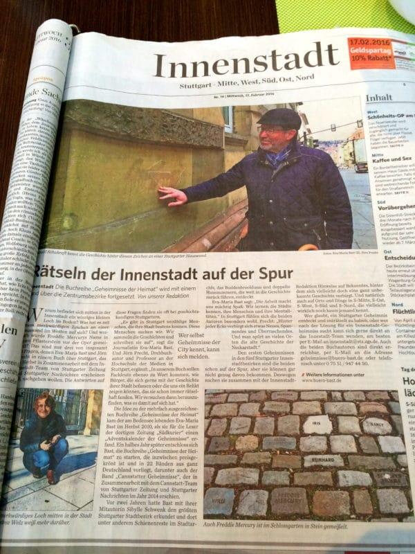 Stuttgarter Zeitung 17.02.2016 Rätseln der Innenstadt auf der Spur